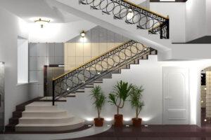 stylowe schody białe z marmuru